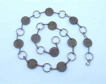 Vintage Gold Tone Chain Belt Brass Medallion Link George Washington Coin Hipster Chain Link Retro Hipster Waist Belt