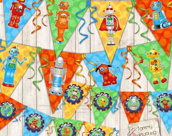 Robot Party Banner Printable, Kids Birthday Party Garland, Robot bunting, robot decorations, Robot pennants for boys room decor