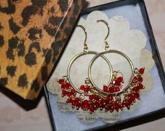 Hoop earrings, beaded earrings, crystal earrings, gold earrings, Red and turquoise earrings, dangle earrings, chandalier earrings