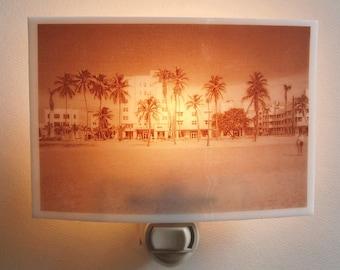 Miami beach  nightlight - Art deco buildings on ocean drive