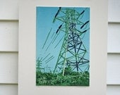 Powerlines near Whitehall, NY -Hand Pulled, Limited Edition