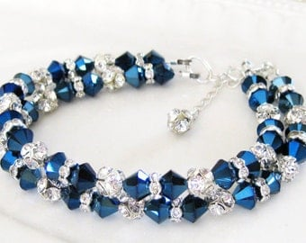 Bridal Bracelet, Metallic Blue, CZ Crystal Rhinestone, Beach Wedding, Bridesmaids Gifts, Wedding Bracelet