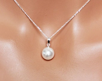Simple Pearl Drop Bridal Pendant, Bridal Jewelry, Bridesmaids Pendant, Wedding Jewelry, Bridal Pearl Drop Necklace