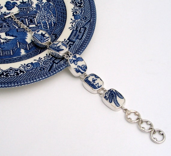 Broken China Jewelry Blue Willow Storyline Sterling Silver Bracelet
