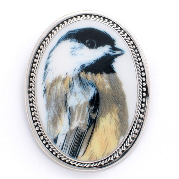 Broken China Jewelry Chickadee Bird Sterling Pin Brooch