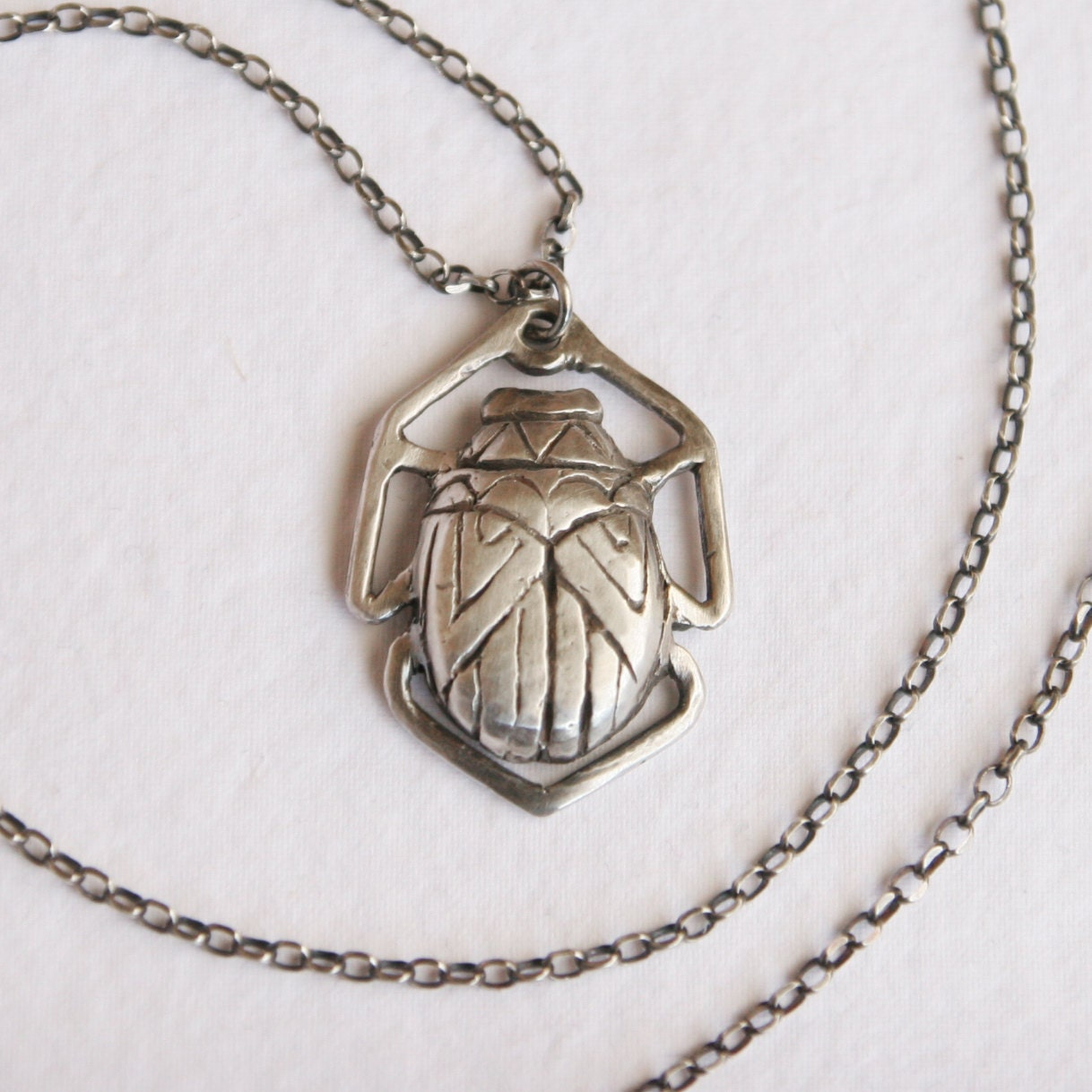 Scarab Jewelry Beetle Necklace Bug Sterling by HartandHuntress