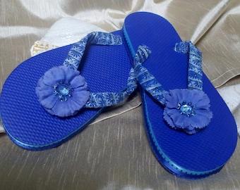 Royal Blue Flip Flop Etsy
