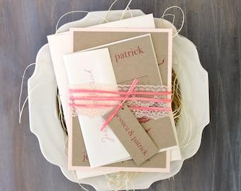 "Rustic Pink Wedding Invitation, Wedding Invitations, Rustic Wedding Invitations, Pink Wedding, Invites - ""Ivory Romance Blush Pink"" Sample"