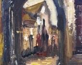 SIGNED Folk Art Painting Vintage European Scene Architecture Emily Hammy Cityscape