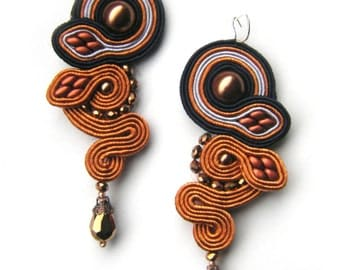 "Soutache earrings ""Copper leaves. Autumn collection."" Statement earrings FREE SHIPPING!!"