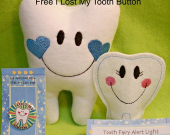 Personalized Tooth Fairy Pillow with hanger for boys,& Tooth Fairy Alert Light and Button - Embroidered and Stuffed Fleece