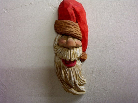 Wood carving santa claus christmas collectible ornament hand