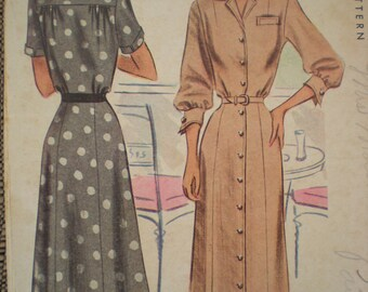 1948 McCall Dress with Cuffs Sewing Pattern 7267, Size 16, Bust 34, Uncut