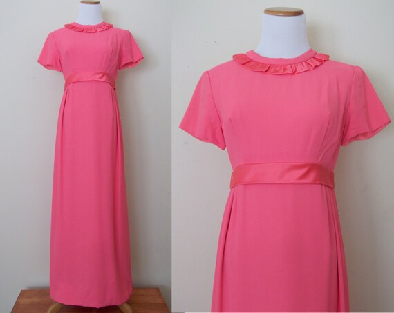 Vintage 1960s Quirky Hot Pink Evening Gown S