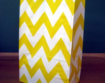 CLEARANCE Yellow Chevron Stand Up Paper Bags -12- Candy Buffet, Party Favor, Wedding Favor - 5 x 7 Flat Bottom Bags