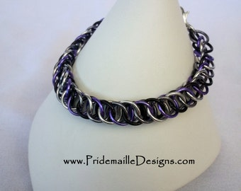 Asexual (ACE) Pride Bracelet - Half Persian 4in1 - Aluminum Chainmaille Jewelry