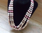 Vintage Necklace Pink JAPAN Faux Pearl Beads Bride Wedding Jewelry Holiday Special Occasion Gift Idea Mother's Day