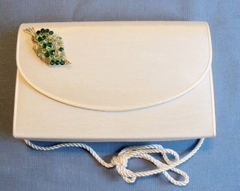 Restyled Purse Off White with Green Rhinestone Leaf Brooch Fall Spring Wedding Purse Bridal Party Special Occasion Gift Idea