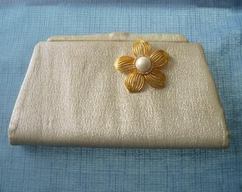 Vintage Purse Restyled Assemblage Gold Clutch Vintage Brooch Wedding Bride Bridal Party Gift Guide Women