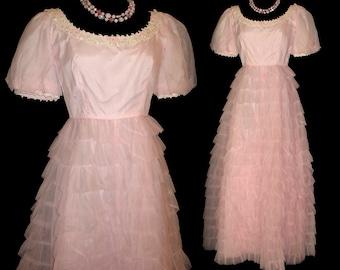 Vintage1950s Dress . Kadine . Wedding Dress . Femme Fatale Mad Men Garden Party Prom Pinup Bombshell Cupcake Rockabilly