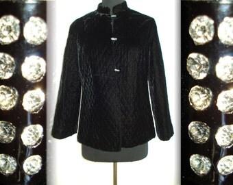 Vintage 1960s Jacket Black Quilted Lucite Buttons Rhinestones Designer Couture Femme Fatale Rockabilly Designer Swing Mad Men Dress Coat Hat