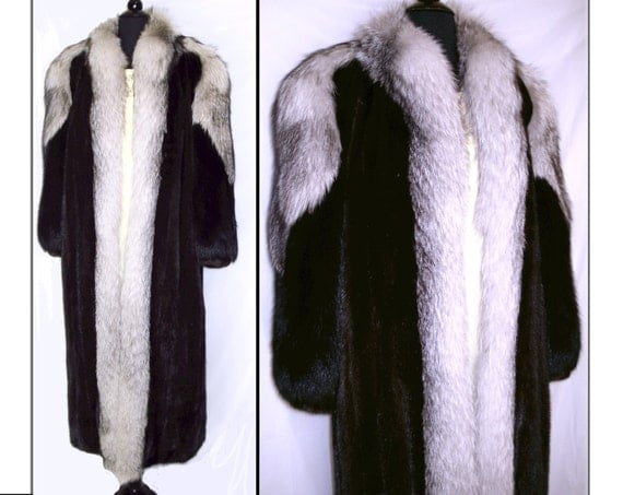 Vintage Mink Coat Full Length Fox Fur Tuxedo Front Black Fox