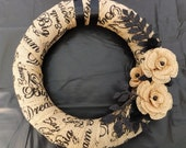 Shabby Chic Burlap Wreath with Flowers