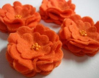 Set of 6pcs handmade felt flower - orange (SCF)