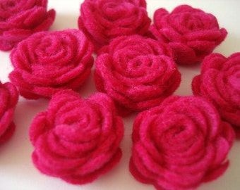 Set of 20 pcs - handmade MINI Felt Rose Flower - fushia (MRO)