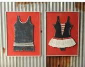 Sailor SwimSuit Set Framed Retro Style Vintage Beach Wall Art Nautical Retro Bathing Suit Wall Decor