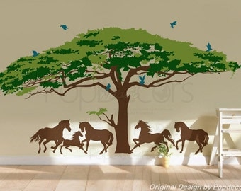 """Super Big Tree Decal - (Monkey Pod Tree(180"""" W) - Super Big Tree Decals Horses Wall Decals Large Room Wall Decors - Free Squeegee"""