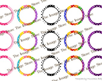 Polka Dot blank / editable Bottlecap image sheet