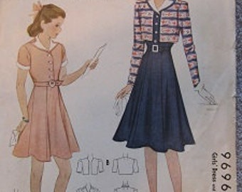 1938 Simplicity 9696 Size 10 Girls' Dress & Bolero Pattern