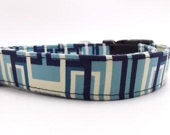 Geometric Blue Dog Collar and Leash, Blue Dog Collar, Boy Dog Colla, Cool Dog Collar, Manly Dog Collar, Decodence Azure