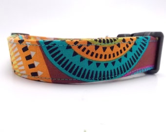 Sunburst Dog Collar and Leash, Colorful Dog Collar, Bold Color Dog Collar, Aztec Collar, Aztec Leash, Aurora Borealis, Michael Miller