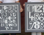 SALE ABC and 123 posters - reduced for both - 22x28 inch - gray and white