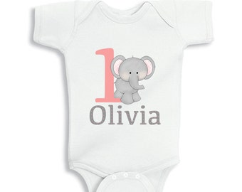 1 Year Old Birthday Girl with cute Elephant bodysuit or infant T-Shirt