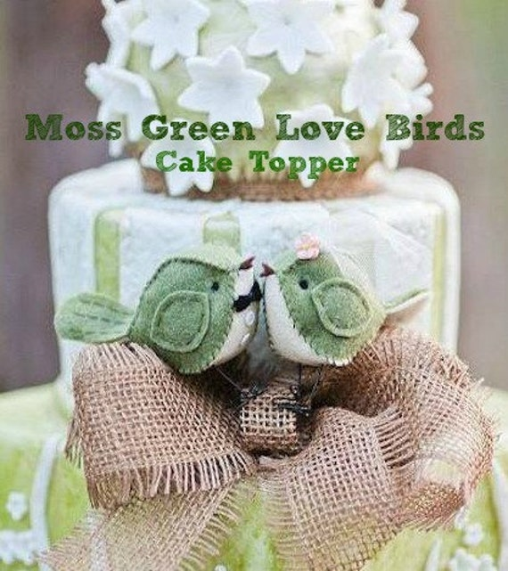 Moss Green Birds Cake Topper - MADE TO ORDER