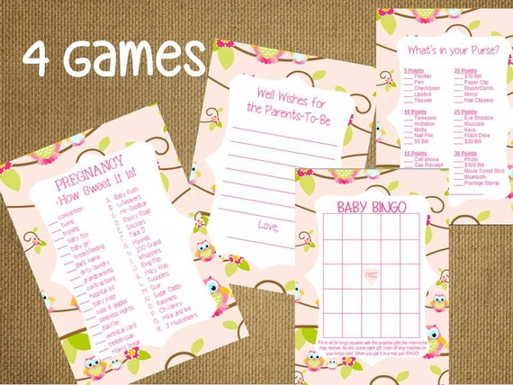 Baby Shower Game Advice For The Parents Cards ~Bingo Purse Candy Bar ...
