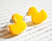 Rubber Duck Earrings, Yellow, Nickel Free Studs