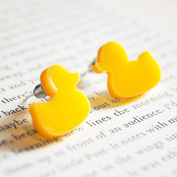Rubber Duck Earrings, Yellow, Nickel Free Studs