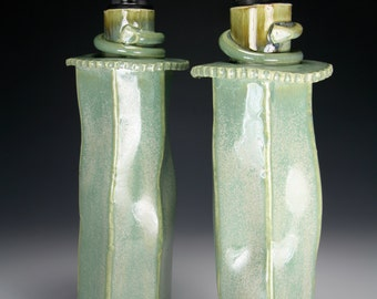 Olive Oil Bottle Dispencer Cruet Green Glaze
