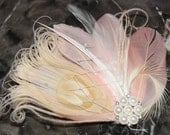 Blush Pink Goose Feathers and Bleached Ivory Champagne Peacock Boutique Bridal Hair Clip Fascinator w Rhinestone Embellishment Photo Prop