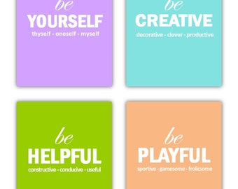 "Playroom wall Art, Our ""Just Be"" Collection Set of Four 8x10 prints, great for nursery, or playroom, or as a gift"