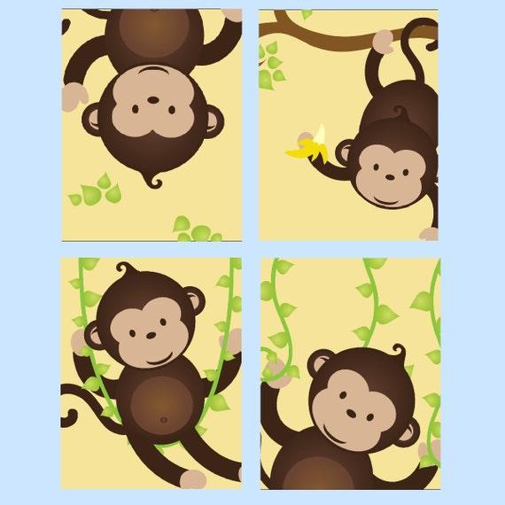 Monkey nursery art monkey decor for kids monkey wall art for Monkey decorations