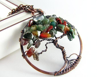 Wire Wrapped Pendant Tree Of Life Necklace Fancy Jasper Stone Wire Wrapped Jewelry Copper Jewelry Beaded Tree Of Life
