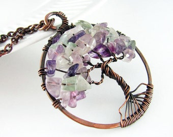 Tree Of Life Necklace Wire Wrapped Pendant Fluorite Necklace Purple Gemstone Copper Necklace Wire Wrapped Jewelry Copper Pendant