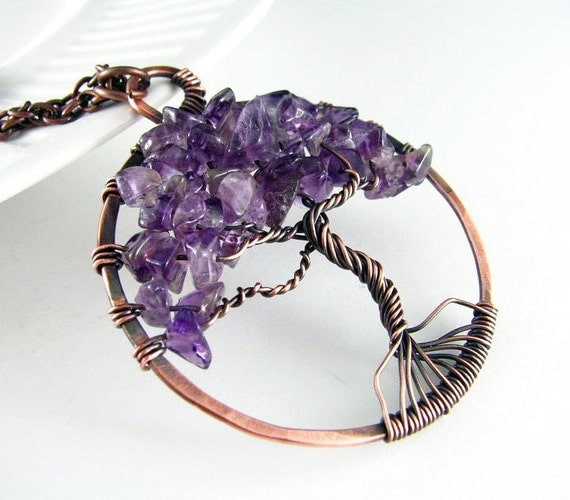 Wire Wrapped Pendant Tree Of Life Necklace Wire Wrapped Jewelry Amethyst Necklace Copper Wire Wrapped Jewelry Tree Necklace Copper Necklace