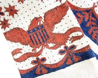 Printed Dish Hand Towel, Early American Eagle, Navy Blue Red Stars and Stripes