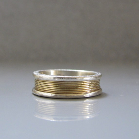 ON SALE - Silver and 14k Gold band, Silver and gold ring, Gold and silver ring